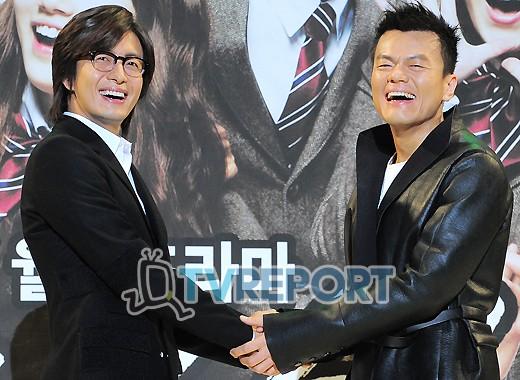 [T포토] 배용준-박진영 '드림하이로 뭉친 두 사람'
