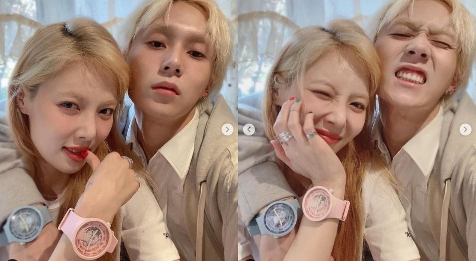 현아, ♥던과 상큼미 넘치는 투샷 '달달한 커플' [리포트:컷]