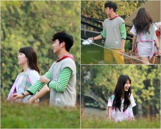 김수현-수지, 광고 촬영 포착…'선남선녀의 만남'