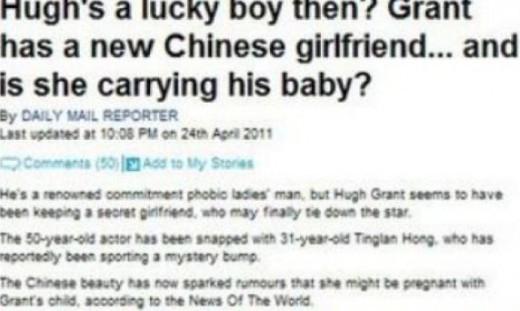 팅란 홍, 휴 그랜트 둘째 아이 출산…그녀는 누구?