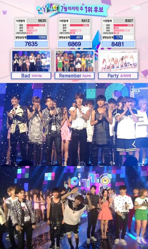 '인기가요' 역시 소녀시대, 마지막까지 1위…인피니트 '파티' 댄스