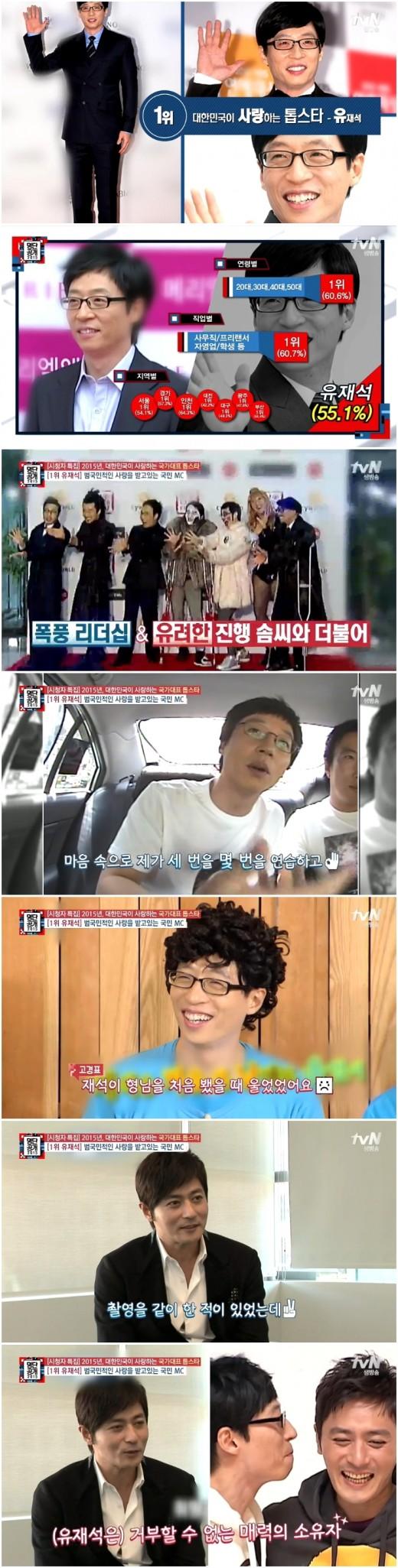 """유재석, 2015년 대한민국이 사랑한 스타로 선정…""""별 중에 별"""""""