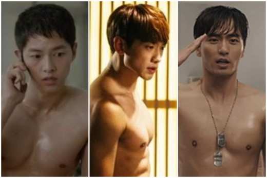 """[리폿@이슈] """"근육의 후예"""" 송중기vs비vs이진욱, 몸매 각축전"""